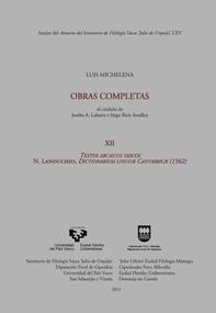 TEXTOS ARCAICOS VASCOS, (1562) : N. LANDUCHIO : DICTIONARIUM LINGUAE CANTABRICAE