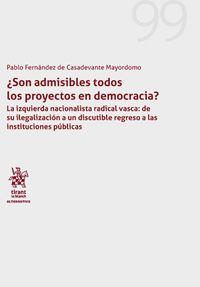 SON ADMISIBLES TODOS LOS PROYECTOS EN DEMOCRACIA.