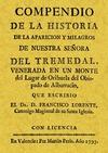 COMPENDIO DE LA HISTORIA DE LA APARICIÓN Y MILAGROS DE NUESTRA SEÑORA DEL TREMEDAL
