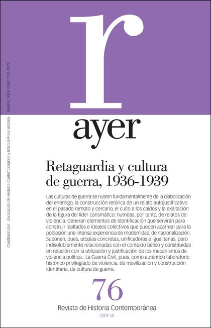 RETAGUARDIA Y CULTURA DE GUERRA, 1936-1939