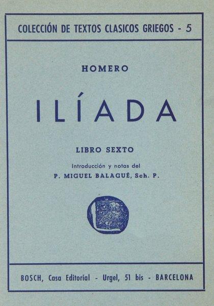 ILÍADA, VI. INTRODUCCIÓN Y NOTAS DE P.M. BALAGUÉ