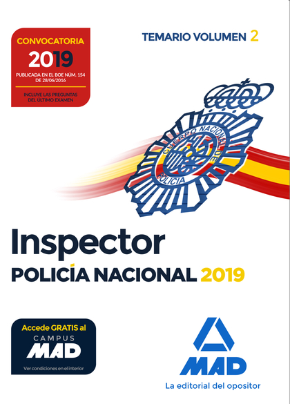 INSPECTOR DE POLICÍA NACIONAL. TEMARIO VOLUMEN 2.