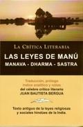 LAS LEYES DE MANU : MANAVA-OHARMA-SASTRA