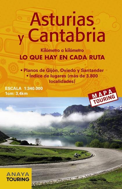 MAPA DE CARRETERAS DE ASTURIAS Y CANTABRIA (DESPLEGABLE), ESCALA 1:340.000.