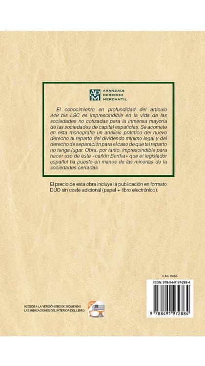 LA SEPARACIÓN COMO ALTERNATIVA AL REPARTO DE DIVIDENDOS EN LAS SOCIEDADES NO COT.