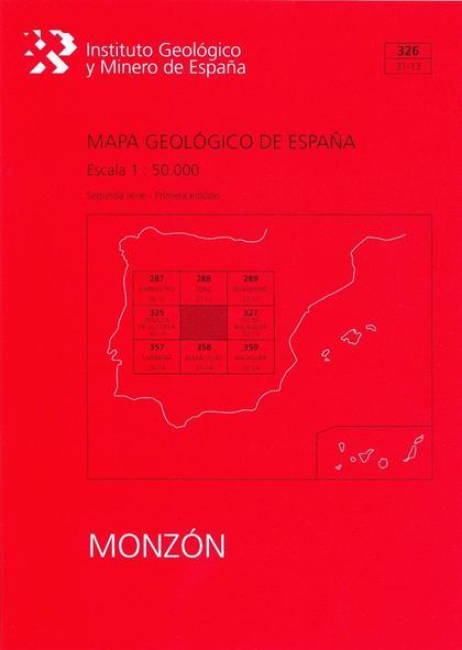 MAPA GEOLÓGICO DE ESPAÑA, E 1:50.000. HOJA 326, MONZÓN.