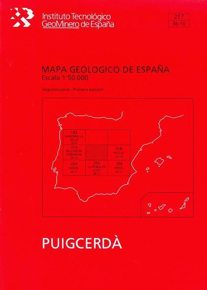 MAPA GEOLÓGICO DE ESPAÑA, E 1:50.000 Y MEMORIA. N  217 PUIGCERDÁ