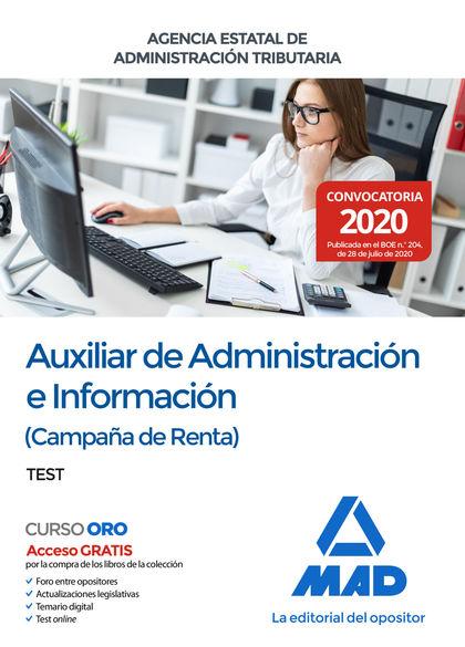 TEST AUXILIAR DE ADMINISTRACION E INFORMACION ( CAMPAÑA DE RENTA ) AGENCIA ESTAT