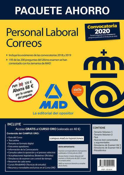 PAQUETE AHORRO PERSONAL LABORAL CORREOS 2020. AHORRA 68 ? (INCLUYE TEMARIOS 1 Y