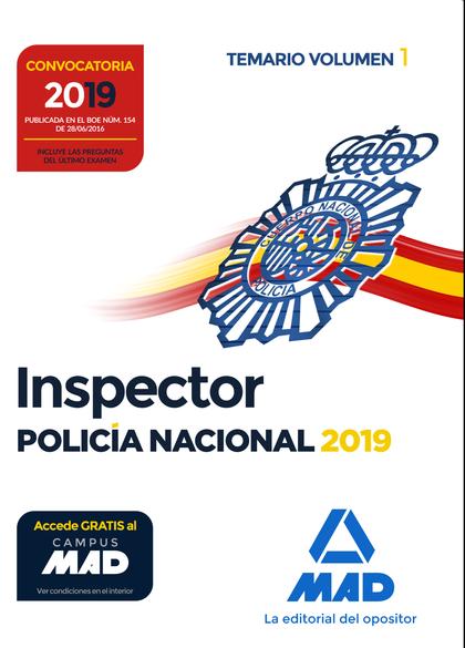 INSPECTOR DE POLICÍA NACIONAL. TEMARIO VOLUMEN 1.