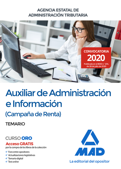 AUXILIAR DE ADMINISTRACIÓN E INFORMACIÓN (CAMPAÑA DE RENTA) DE LA AGENCIA ESTATA. TEMARIO