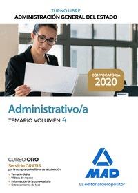 ADMINISTRATIVO DE LA ADMINISTRACIÓN GENERAL DEL ESTADO (TURNO LIBRE). TEMARIO VO.