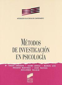 MÉTODOS DE INVESTIGACIÓN EN PSICOLOGÍA.