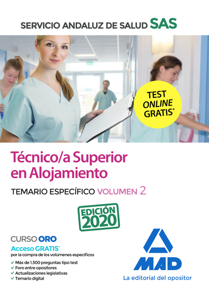 TÉCNICO/A SUPERIOR DE ALOJAMIENTO DEL SERVICIO ANDALUZ DE SALUD. TEMARIO  ESPECÍ.