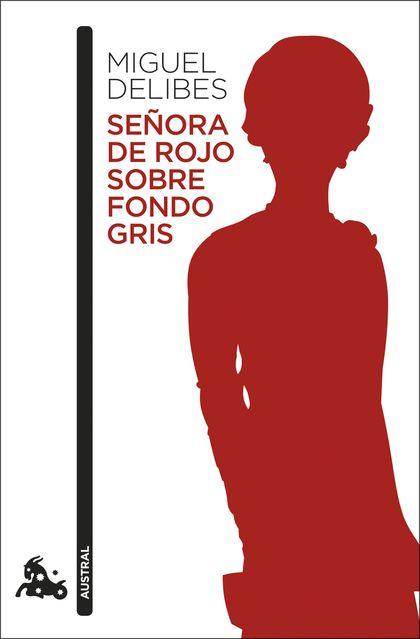 SEÑORA DE ROJO SOBRE FONDO GRIS.