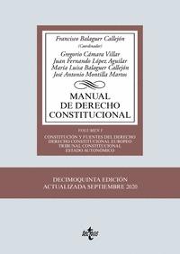 MANUAL DE DERECHO CONSTITUCIONAL. VOL. I: CONSTITUCIÓN Y FUENTES DEL DERECHO. DERECHO CONSTITUC