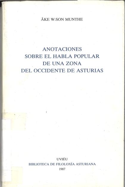 ANOTACIONES SOBRE EL HABLA DE UNA ZONA DEL OCCIDENTE DE ASTURIAS