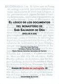 EL LÉXICO DE LOS DOCUMENTOS DEL MONASTERIO DE SAN SALVADOR DE OÑA (SIGLOS X-XIII
